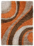 Cheap Rizzy Home Kempton Collection KM2325 Hand-Tufted Shag Area Rug 6′ x 9′ Orange-Brown