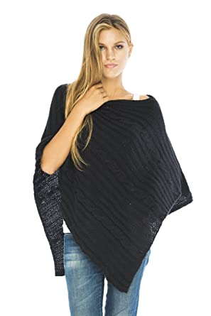 Back From Bali Knit Cable Poncho Black Womens Sweater Cape Boho Soft