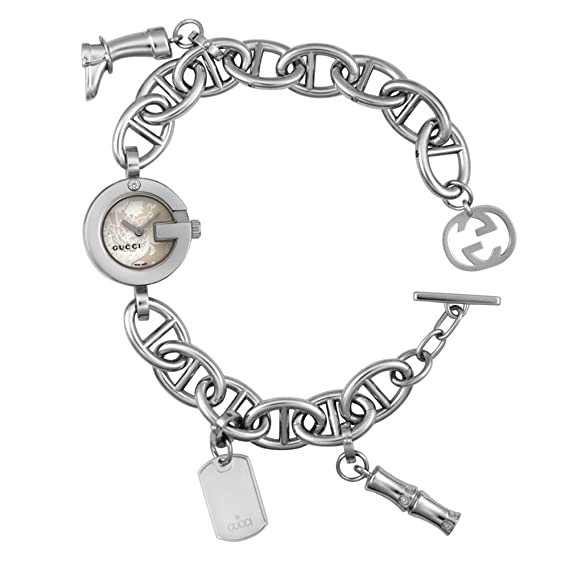 d461081e2 Gucci Women's YA107508 107 Collection Stainless Steel Charm  White-Mother-Of-Pearl Dial Watch: Amazon.ca: Watches