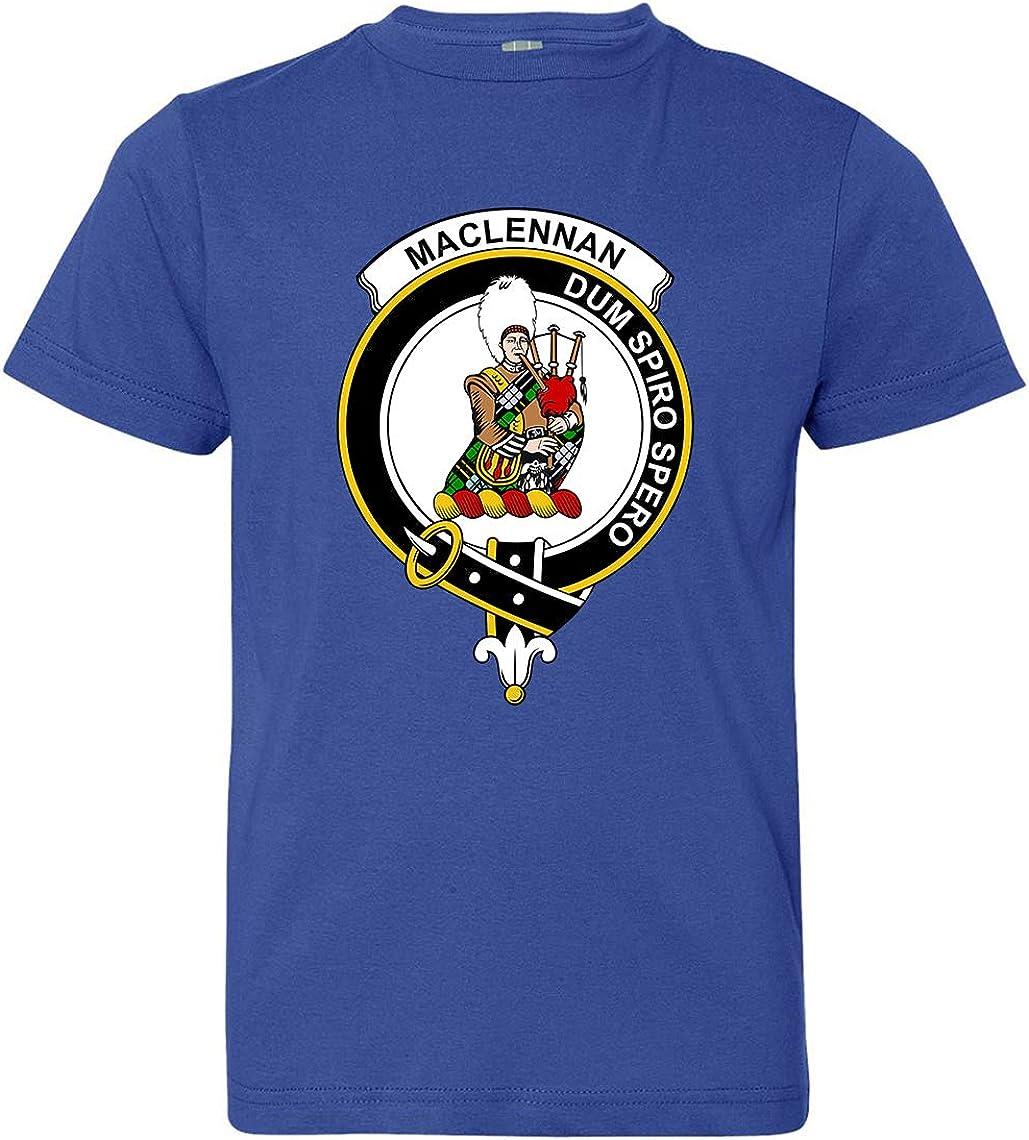Tenacitee Boys Youth Scottish Clan Crest Badge MacLennan T-Shirt Royal Blue Medium