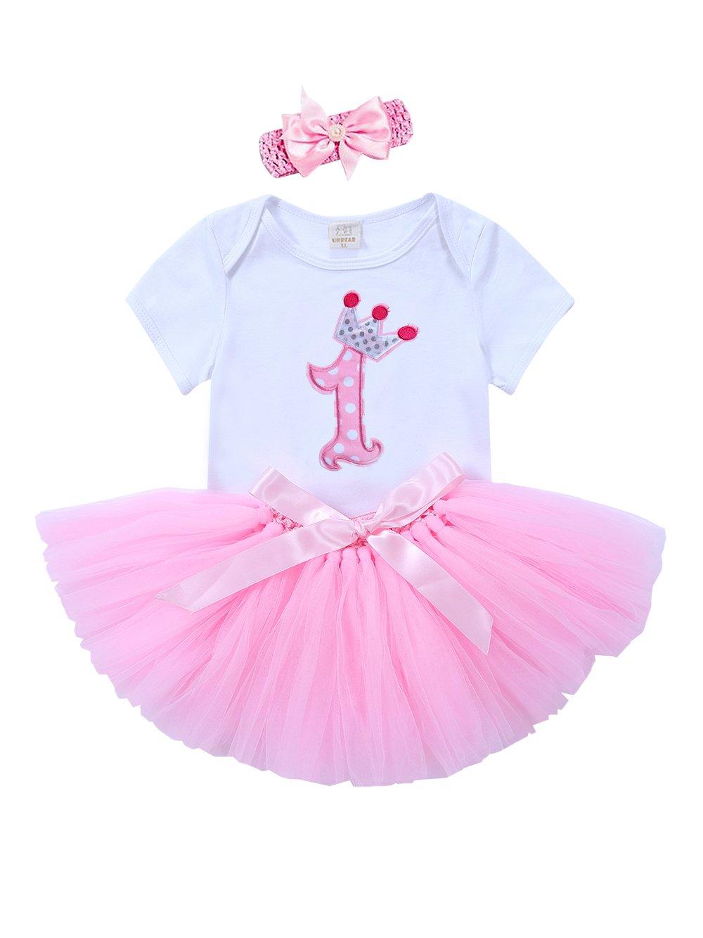 URBEAR 3pcs Baby Mädchen 1. Geburtstag Kleidung Body Strampler + Tüllrock + Haarband Rosa Rock Outfits, 12-24 Monate A80601FH-D1XL
