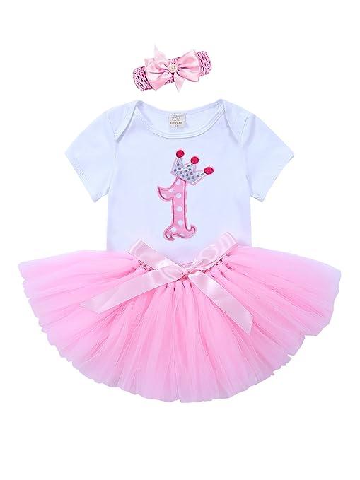 URBEAR Bebé Niña 3pcs Corona Patrón de primer cumpleaños para vestido de Morado tutú+ropa+diadema,12-24 Meses