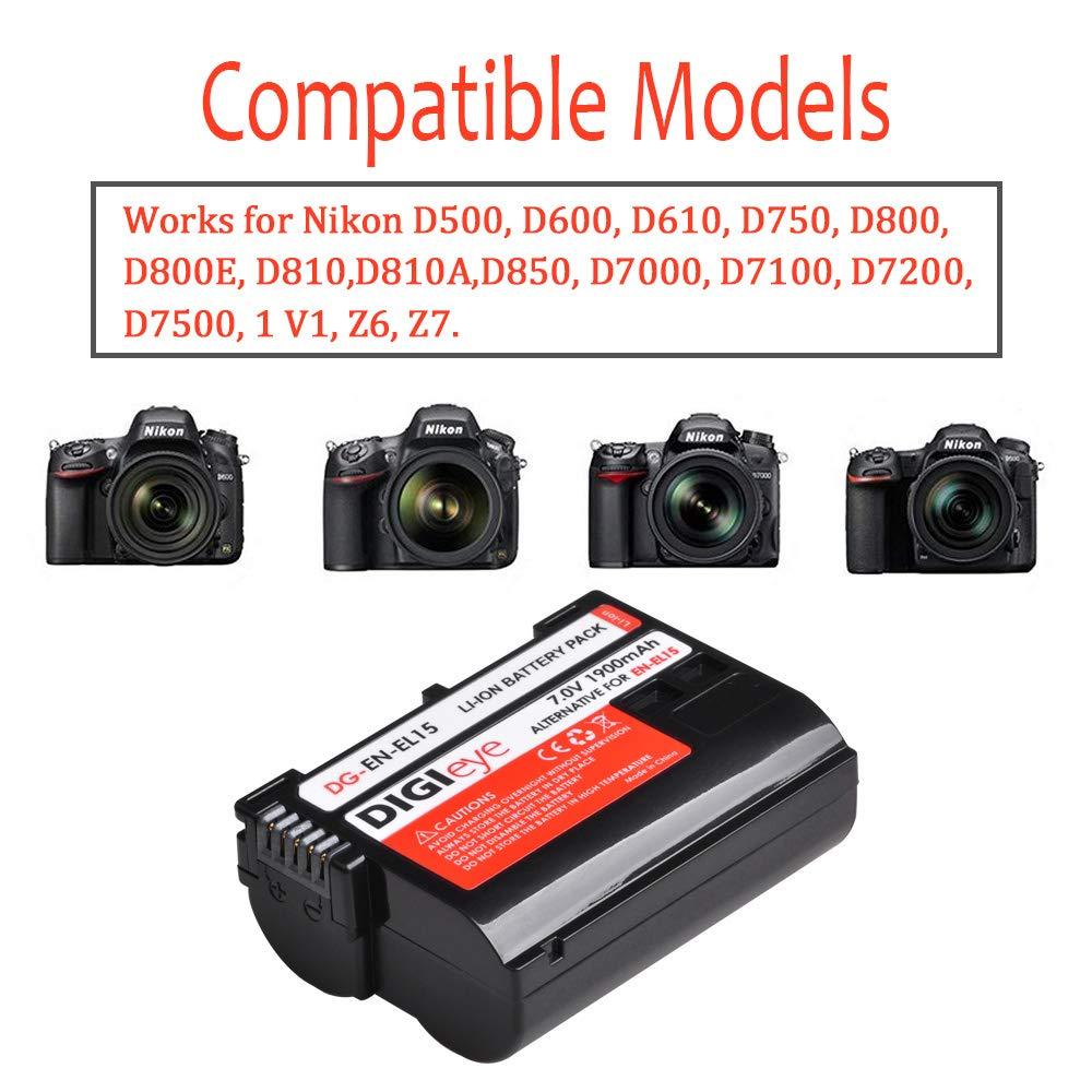 EN-EL15/EN-EL15a 1900mAh 1 batería y Cargador Dual Compatible con ...