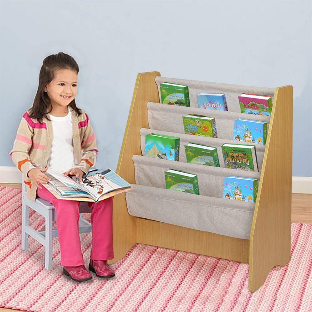 Hopeg Children Boys and Girls Growing Puzzle Toy - Kid's Wooden 4 Layer Fabric Sling Bookcase Toy Picture Book Storage Rack , sort Out The Room Tool