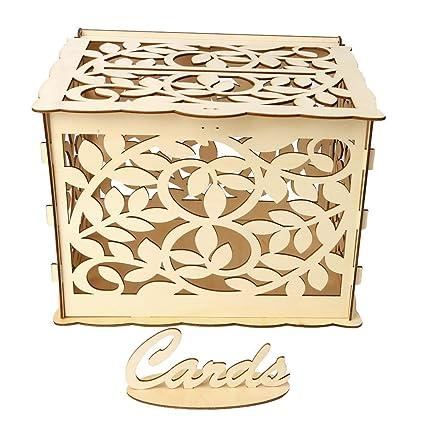 Amazon.com: KODORIA - Buzón de madera para tarjetas de boda ...