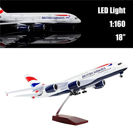 "24-Hours 18"" 1:160 Scale Diecast Plane Model Britain A380 Airplane  Collection with LED Light(Touch or Sound Control) for Decoration or Gift"