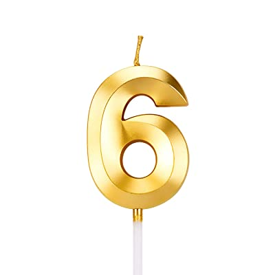 LUTER Gold 3D Diamond Shape Happy Birthday Cake Candles with Fold Design Number Candles Number 6 Birthday Candle Cake Topper Decoration for Party Kids Adults: Home & Kitchen