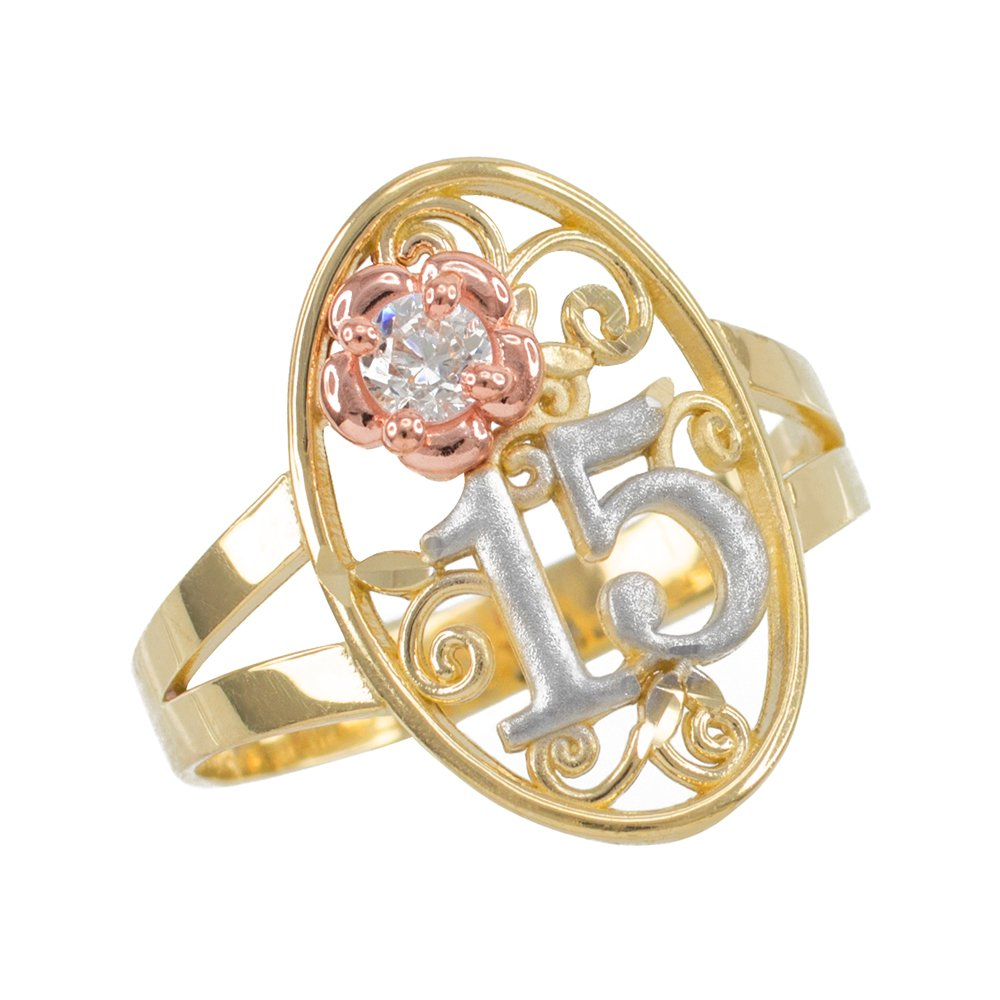 10k Tri-Tone Gold Sweet 15 Anos Solitaire CZ Oval Filigree Quinceanera Ring, Size 5