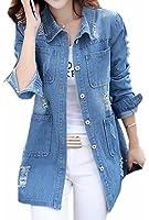 Ebind Womens Casual Hole Button Up Coats Denim Jackets