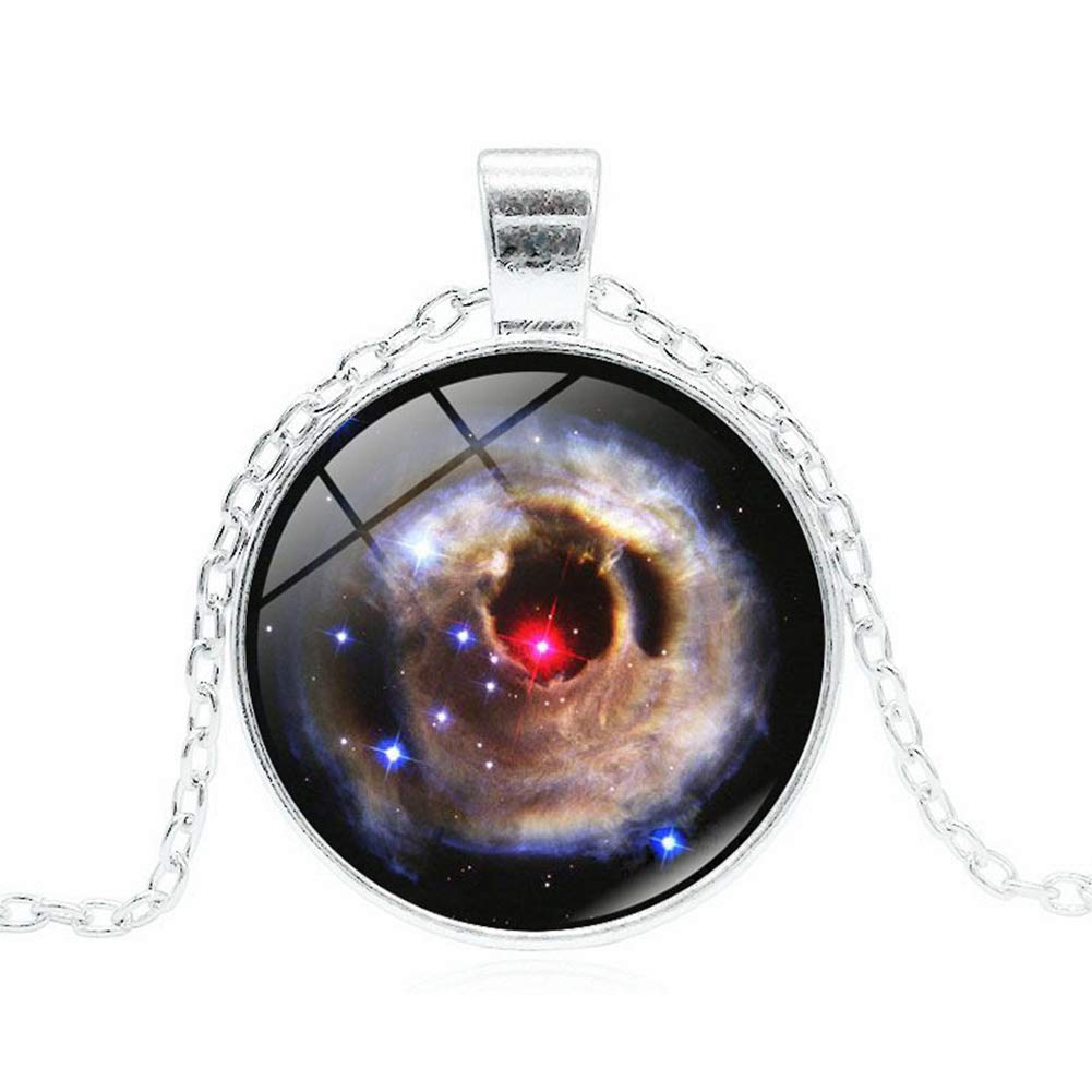 Yamalans Long Chain Galaxy Planet Glass Pendant Sweater Necklace Sweater Jewelry Gift for Women Outfit Decors Silver