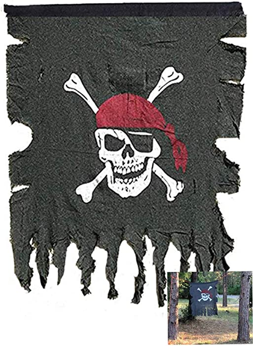 Beryllong Pirate Flag Vintage Fabric Old Pirate Flag Jolly Roger Flag Hanging Rope pirate party bar interior garden decorations 30 x 36