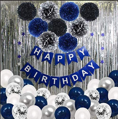 Blue Birthday Party Decorations, Happy Birthday Supplies, Happy Birthday Banner, Blue White Silver Confetti Balloons, Pom Pom Flower, Metallic Fringe Curtain for Boy Men