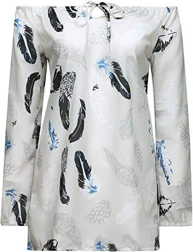 Women Casual Cold Off Shoulder Feather Print Daily Long Sleeve Tops Shirt Blouse
