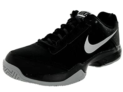 Nike Mens Air Cage Court Tennis Shoes Black 10 M Black/Metallic Silver