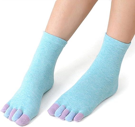 Beikoard Puro Algodón Yoga Dedos Calcetines, Algodón Yoga Gimnasio ...