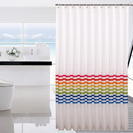 Rainbow Shower Curtain Waterproof Mildew Thickened Green Polyester Cloth Cut Off The Bathroom