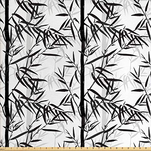 Lunarable Bamboo Fabric by The Yard, Abstract Forest Leaves Floral Garden Plants Summer, Decorative Fabric for Upholstery and Home Accents, 3 Yards, Black Charcoal Grey White