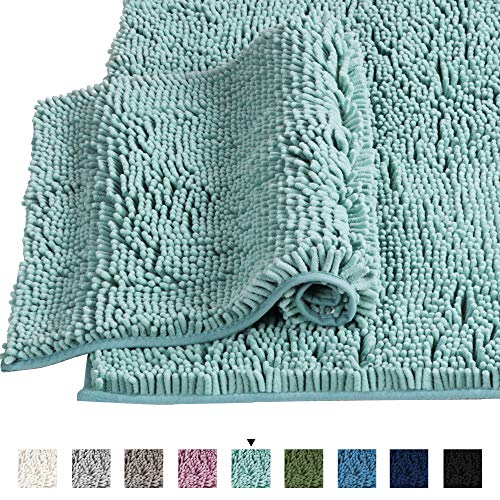 - H.VERSAILTEX Microfiber Bath Rugs Chenille Floor Mat Ultra Soft Washable Bathroom Dry Fast Water Absorbent Bedroom Area Rugs, 20