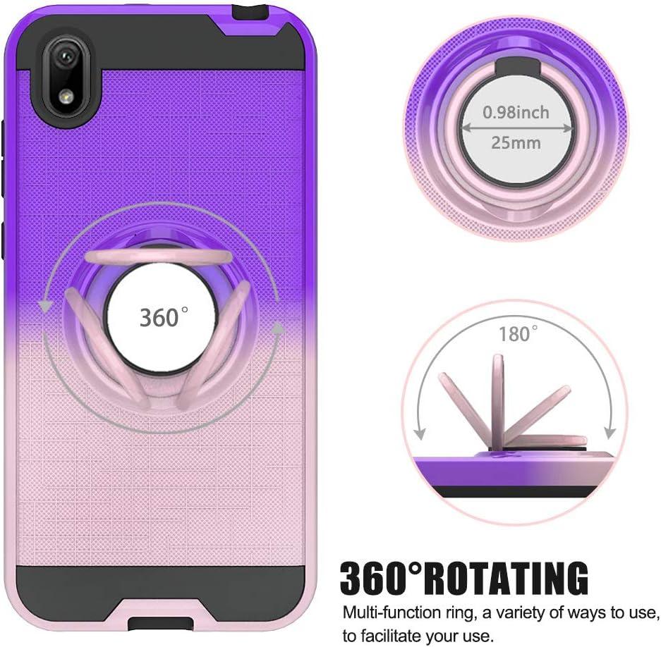 FAWUMAN Funda para Huawei Y5 (2019) Soft TPU + Duro PC Doble Parachoques Cubierta con a Anillo Soporte,Diseño Antideslizante de Red de Pesca 3D(Púrpura-Oro Rosa): Amazon.es: Electrónica