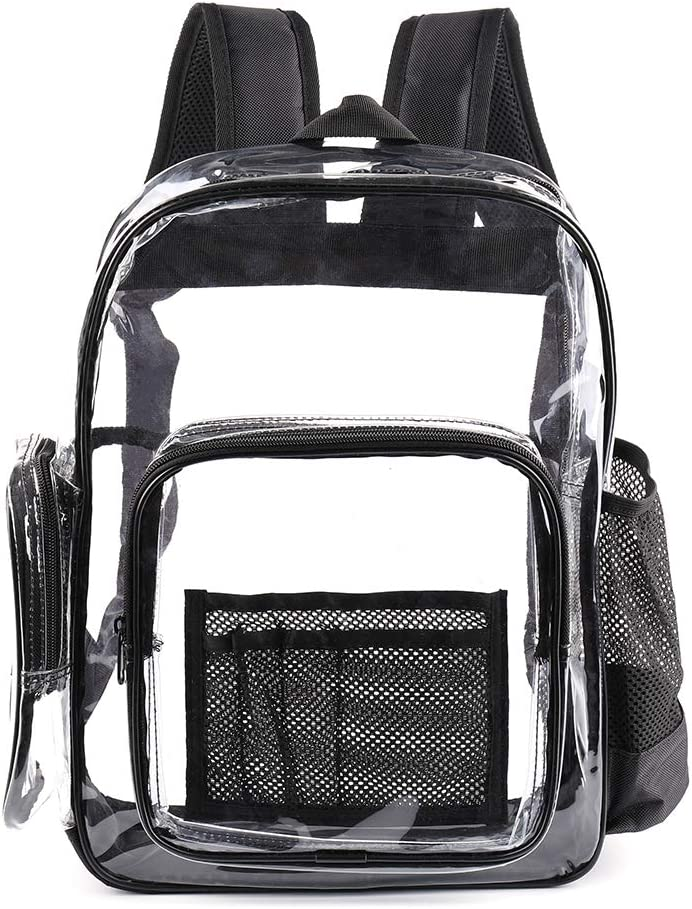 Heavy Duty Transparent Bookbag with Laptop Compartment,See Through Large Size Clear Plastic Backpack for School, Stadium,Security, Sporting Events (Black)