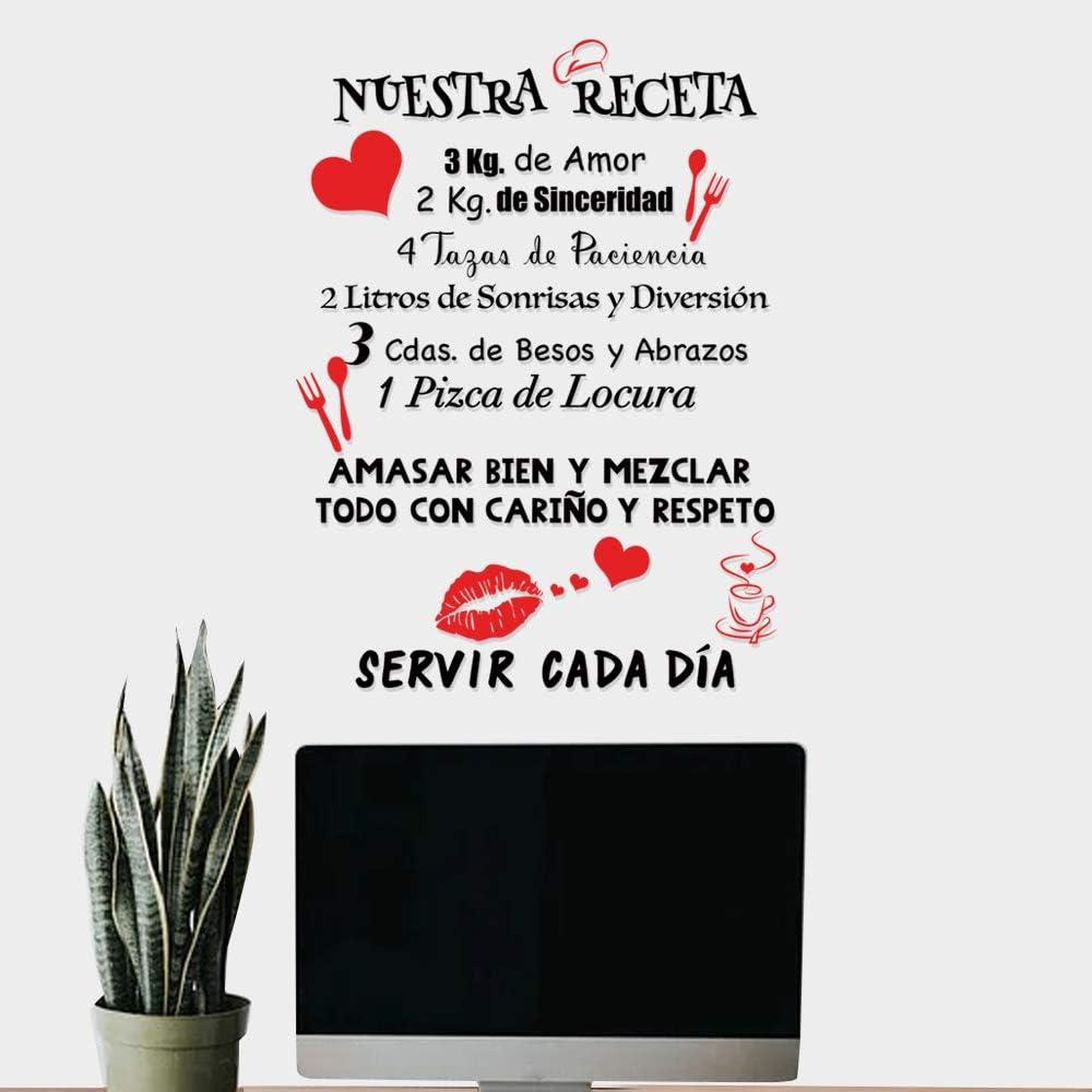 Pegatinas Citas Inspiradoras Pared Español Vinilos Frases Motivadoras Letras Stickers Adhesivos Negro Decorativos Habitación Dormitorio Salón Oficina NUESTRA RECETA.: Amazon.es: Bricolaje y herramientas