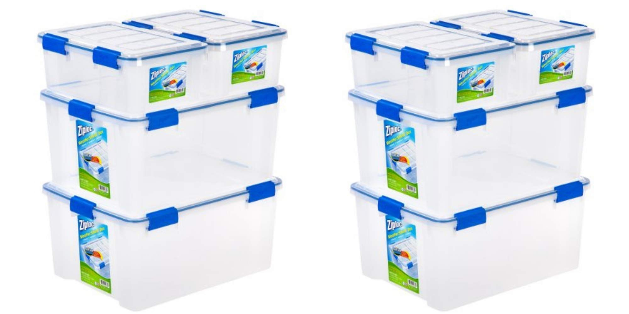 Ziploc 16 and 60 Quart WeatherShield Storage Box, (8- Pack), Clear