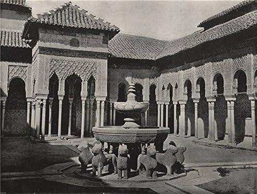 La Alhambra. La Corte Leones de. España Old Vintage envejecido – 1895 – lienzo Prints de España: Amazon.es: Hogar