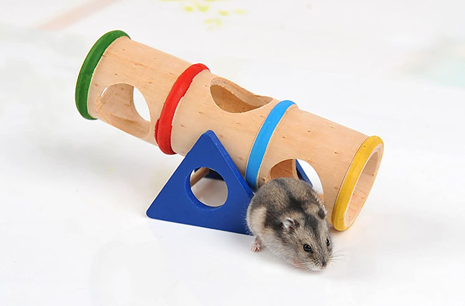 Hamster Wooden Toy Seesaw Tunnel colorful Cage House Hide Play Toy for Small Animals Like Dwarf Hamster and Mouse