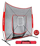 Powernet Best Deals - PowerNet DLX 7x7 Baseball and Softball Practice Net (Bundle with Strike Zone and Training Ball)