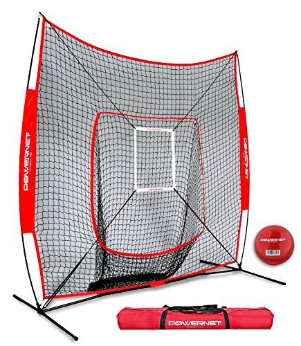 PowerNet DLX 7x7 Baseball and Softball Practice Net (Bundle with Strike Zone and Training Ball) by PowerNet