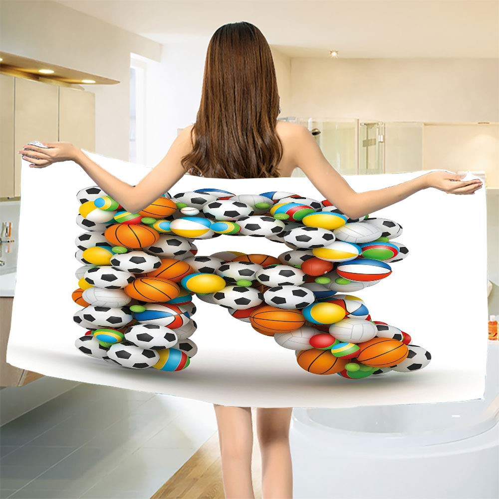 smallbeefly Letter R Bath Towel Realistic Looking Volleyball Basketball Soccer Balls Language of The Game Theme Bathroom Towels Multicolor Size: W 31.5'' x L 71''