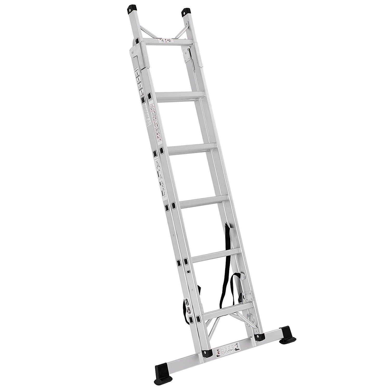 Songmics Echelle aluminium Domestique Escabeau Multifonction Hauteur maximale atteinte sur l'échelle et bras étendu 3.5 m Résistant à 150 kg GLT260