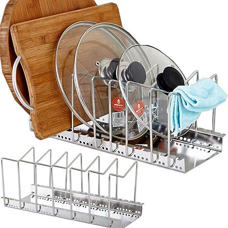 Organizador de sartenes y tapaderas – Soporte de metal cromado con 6 compartimentos para sartenes y