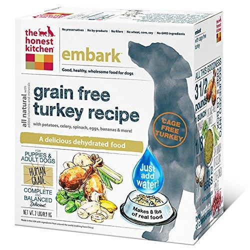 The Honest Kitchen Embark Grain Free Dog Food - Natural Human Grade Dehydrated Dog Food, Turkey, 2 lbs (Makes 8 lbs)