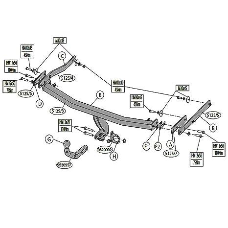 Brink 512500 fija cuello de cisne Tow Bar – Renault Megane II/Megane III,