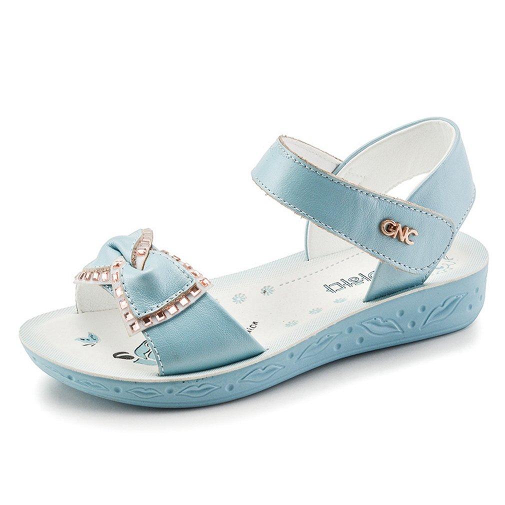CYBLING Kids Girl's Open Toe Flat Strap Leather Sandals wtih Glitter Bow (Toddler/Little Kid/Big Kid)