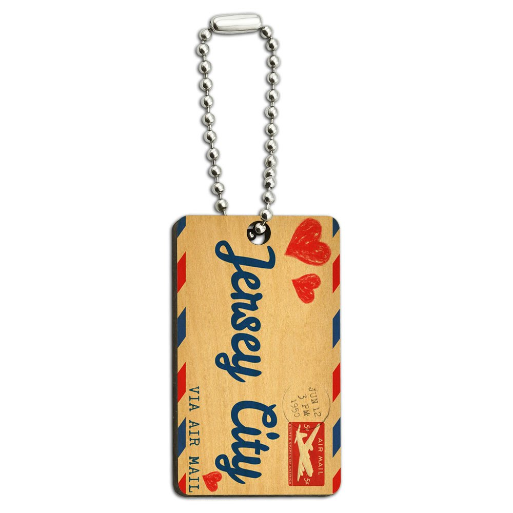 Air Mail Postcard Love for Jersey City Wood Wooden Rectangle Key Chain