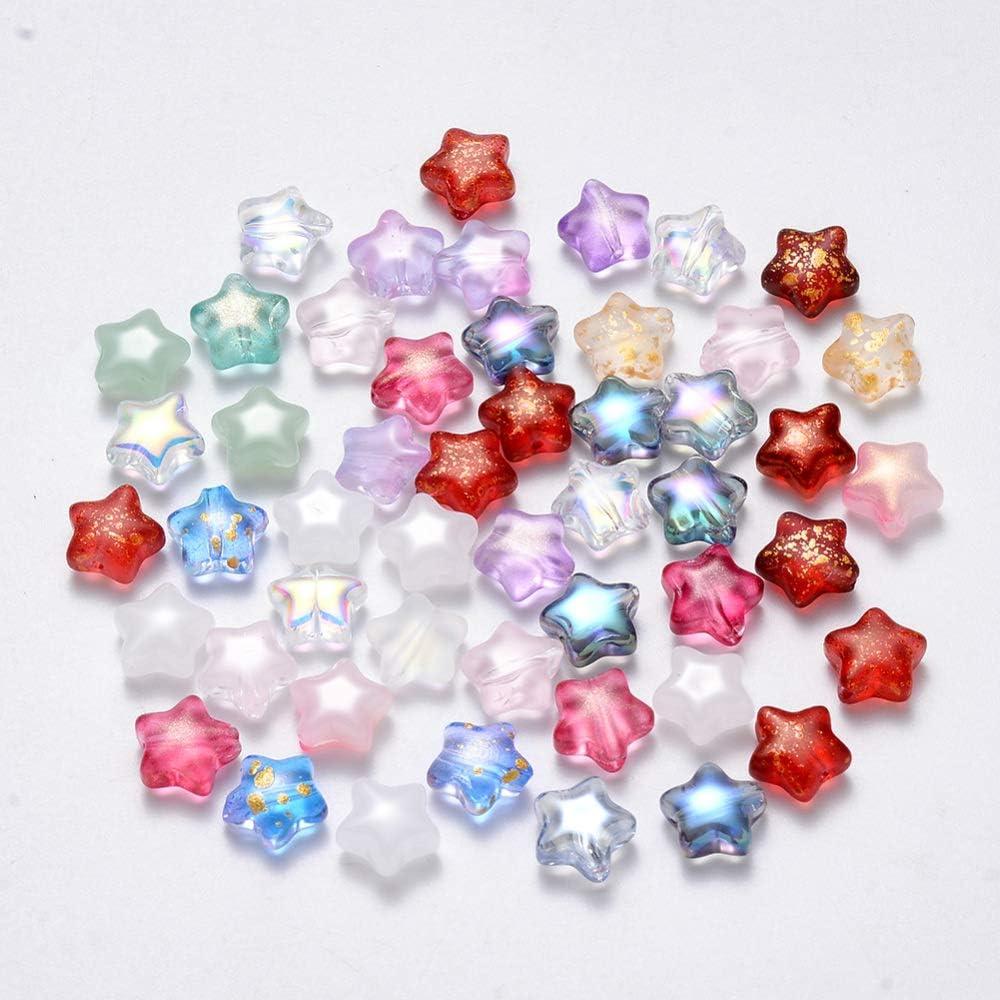 UR URLIFEHALL - 100 cuentas de cristal pintadas en aerosol para pendientes, pulseras, collares, manualidades, varios colores