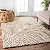 nuLOOM Handwoven Jute Jagged Chevron Area Rugs, 4' x 6', Ivory