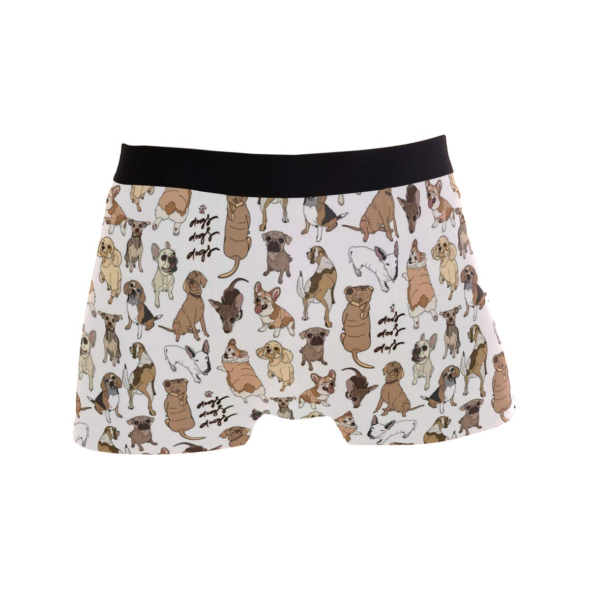 Charlley Lee Mens Soft Breathable Different Dogs Breed Vector Underwear Boxer Briefs