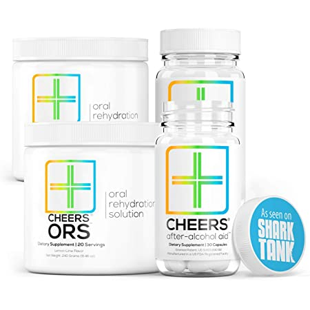 Cheers Formerly Thrive After Alcohol Aid ORS Combo for Fast Alcohol Detox Rehydration Recovery After Drinking Alcohol. Replenish with Our Electrolyte Formula Double
