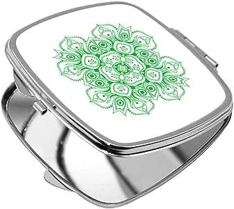 مرآة جيب، بتصميم رسوم زخرفية - وردة، شكل مربع