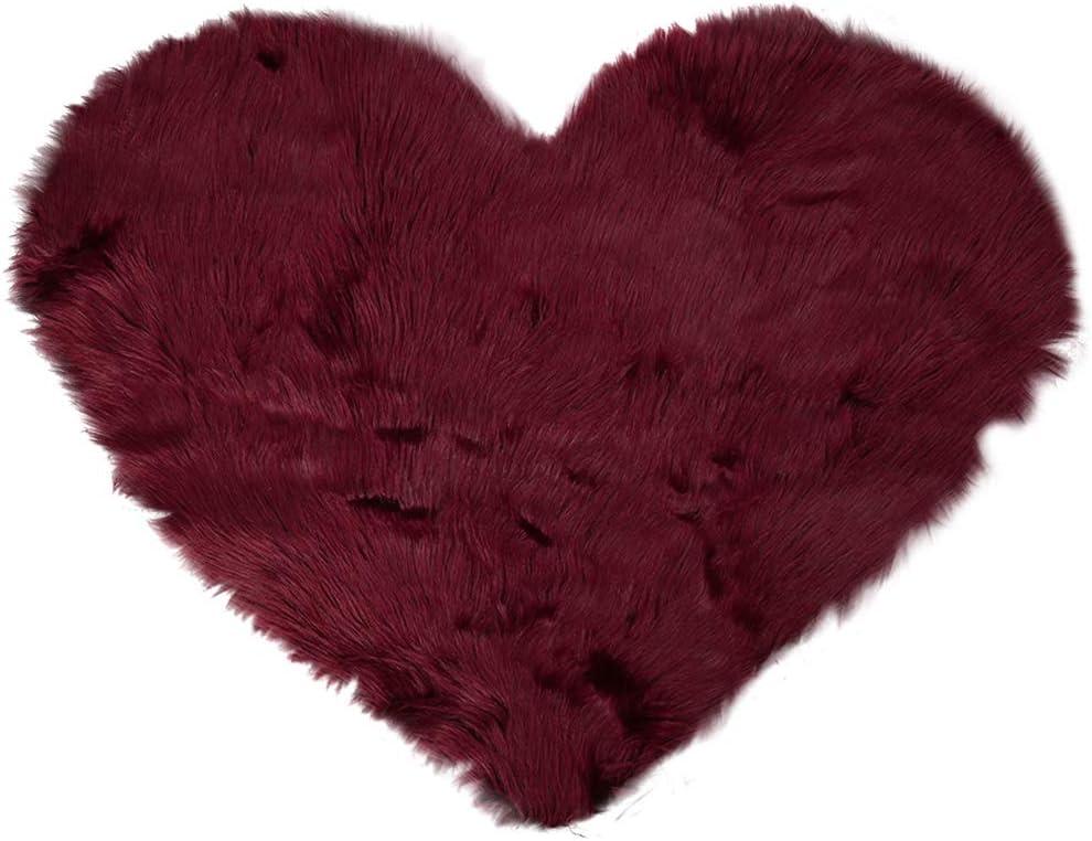 uxcell Heart Shaped Love Soft Faux Sheepskin Fur Plush Area Rugs for Home Living Room Sofa Floor Mat Bedroom 2.3ftx3ft, Burgundy