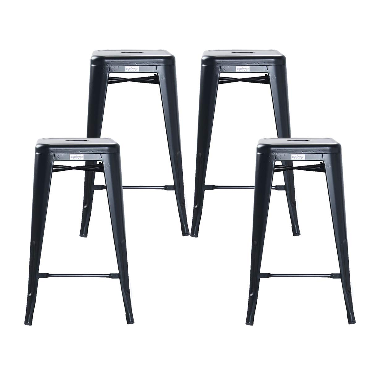 Buschman Set of 4 Matte Black 26 Inch Counter Height Metal Bar Stools, Indoor/Outdoor, Stackable by Buschman Store