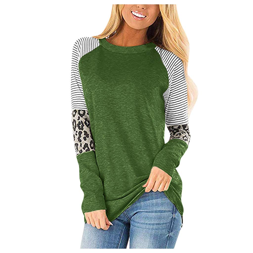 KANGMOON Women's Long Sleeve Leopard Color Block Tunic Comfy Stripe Round Neck T Shirt Tops Pullover Sweatshirts-XXL Army Green by KANGMOON