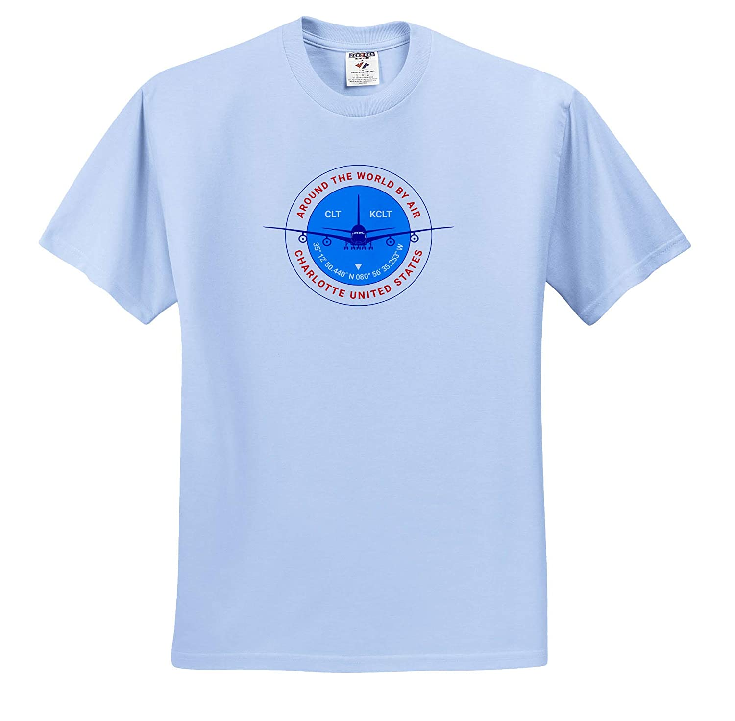 Round Badge Around The World by Air Red Text Charlotte United States a Blue Airliner T-Shirts 3dRose Alexis Design