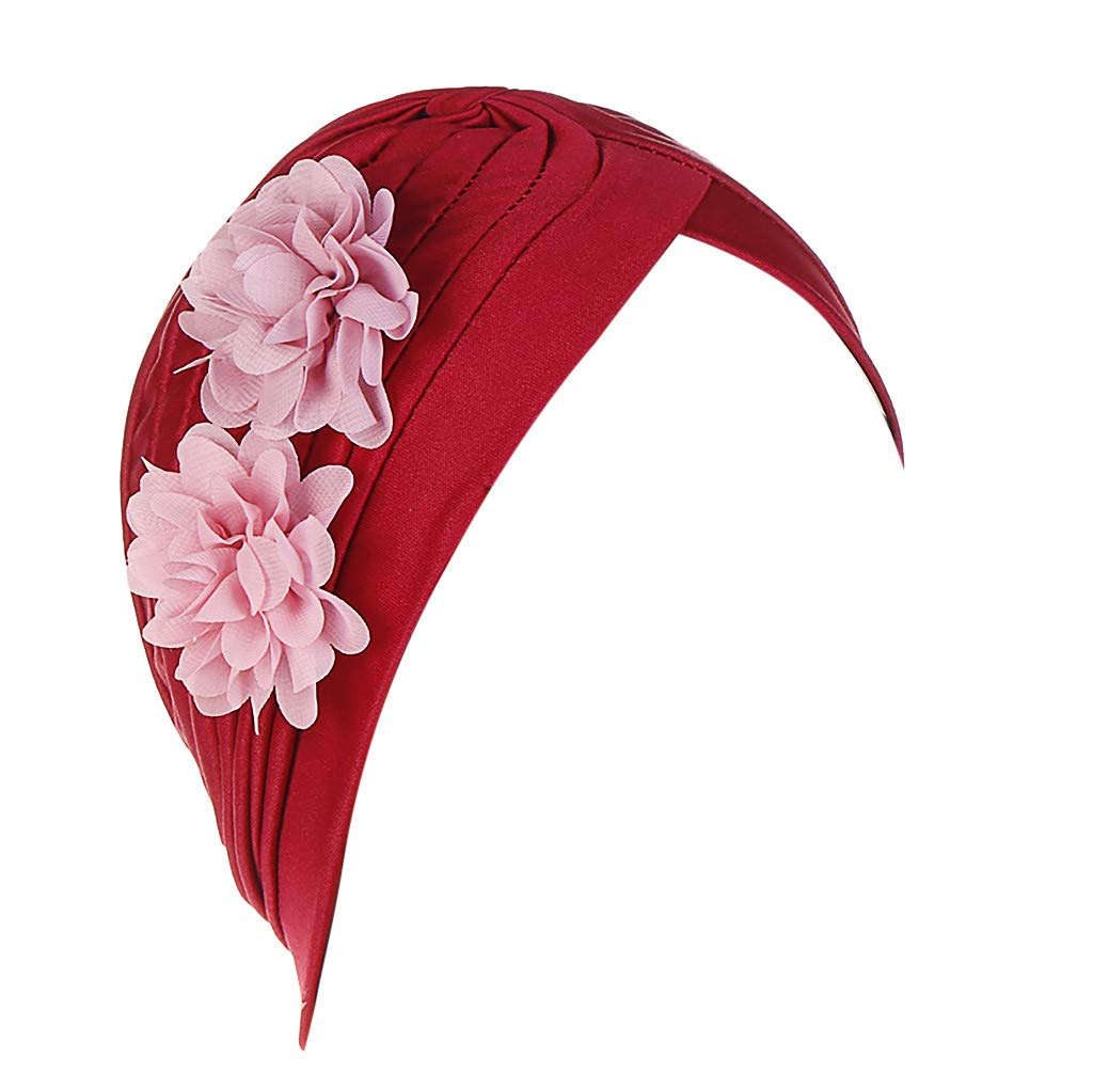 YEZIJIN Women Two Flower India Hat Muslim Ruffle Cancer Chemo Beanie Turban Wrap Cap Summer Best 2019 New Wine