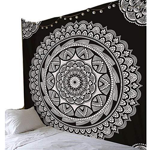 ENJOHOS Mandala Tapestry Wall Hanging Black & White Indian Bohemian Wall Art Floral Decorative for Bedroom Living Room Hippie Flower Design Beach Towel Throw Blanket Sheet Picnic Mat,79 x 59
