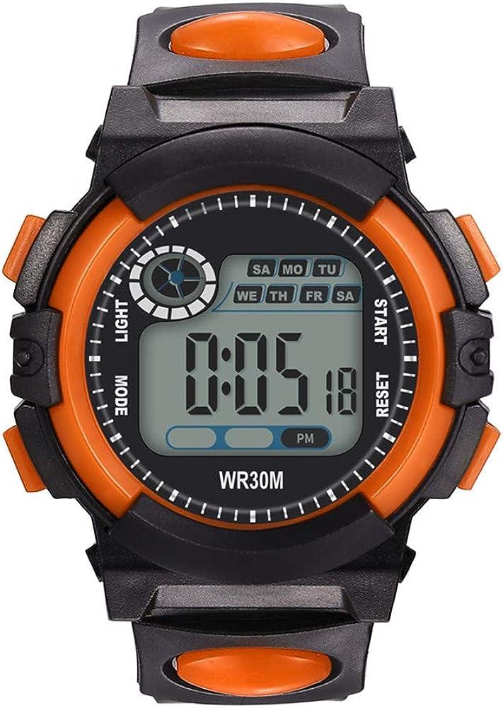 Venta de liquidación! Wudube - Reloj Digital electrónico para Hombre, Sumergible a 30 m, Fecha, Viaje, Ducha, Alpinismo, natación, Reloj de Pulsera Medium Naranja: Amazon.es: Relojes