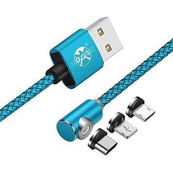 Cable Cargador - 3 en 1 Cable magnético Trenzado Cabeza ...